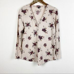 Torrid • Cream Floral Long Sleeve Henley Tee